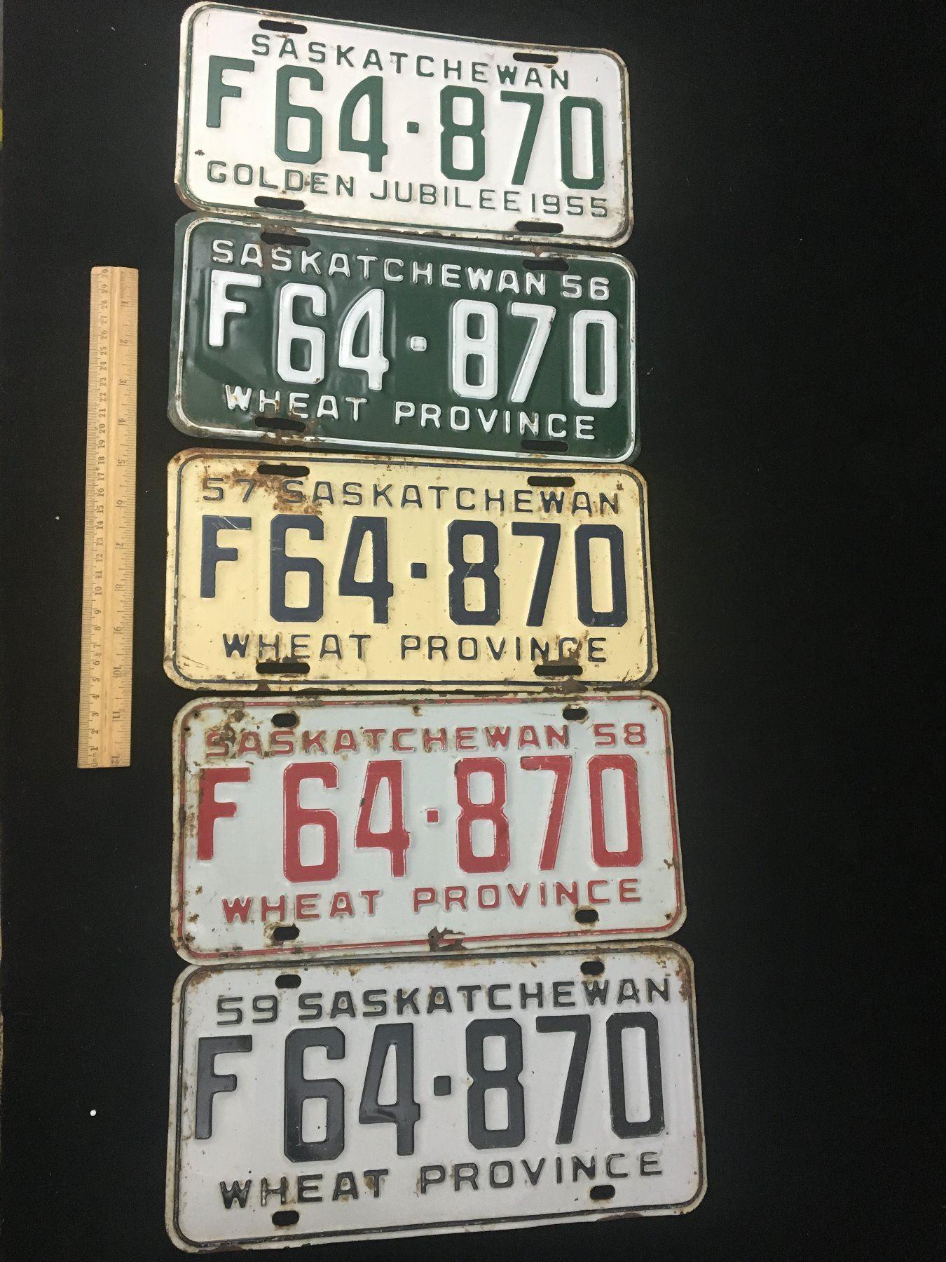 Saskatchewan Licence Plate Sets Unique Lot Of 5 Same Licence Number Different Years 1955 56 57