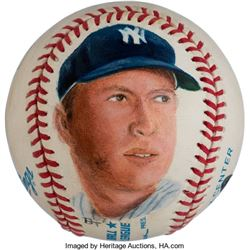 Mickey Mantle Signed Baseball with Portrait PSA/DNA