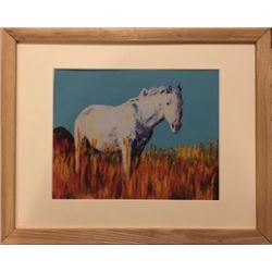 "The White Horse "" Chuck Lewis' Dream"" Print of the original framed"