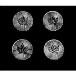 Four Ounces Canadian Maple Leaf Silver  Dollar Incised Coins Random dates
