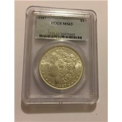1887 Morgan Dollar Graded MS63