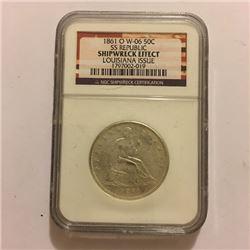 SS Republic Shipwreck Coin 1861 O 50C  Graded