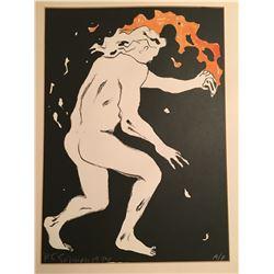 R.C. Gorman Lithograph of a Fire Dancer 1974 Artist Proof