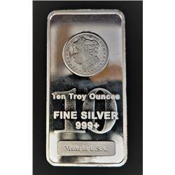10 Ounce Bar 999 Silver Morgan Stamp