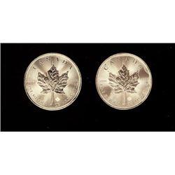 Two Canadian Maple Leaf 5 Dollar INCISED 2 Ounces Silver Bullion Coins