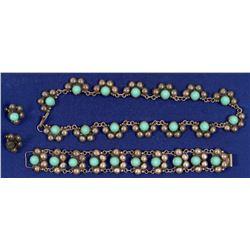 Turquoise & Silver Necklace & Bracelet (Faux)   (105301)