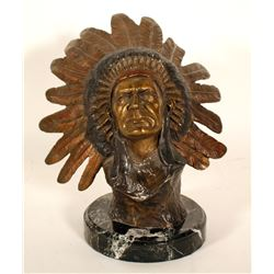 Bronze Bust of Native American Chief   (101079)