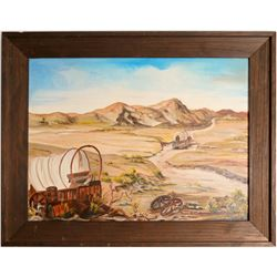 "Painting/ "" Busted, Left To The Coyotes Of Death Valley"" / By June Sandbakken.   (105406)"