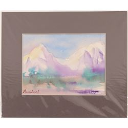 "watercolor  / "" Pueblo Mountains"" / By Marcelene J.   (105400)"