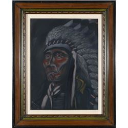 Framed Hollow Horn Bear Velvet by Ska   (87875)