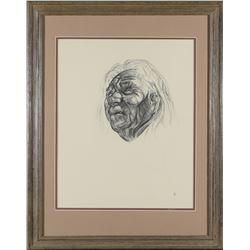Framed Native American Elder Print by Caples   (87618)
