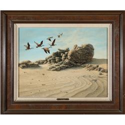 Geese Over Tufa Acrylic by Wm. Moore   (87625)