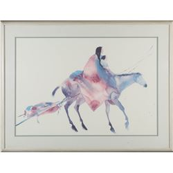 Horse and Native Americans Water Color Print   (87728)