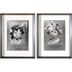 Moritz Flagg Native American Children Prints (2)   (87736)