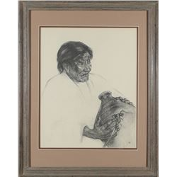 Native American Woman with Jug Charcoal Print by Caples   (87600)