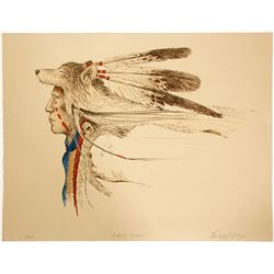 Nature's Warrior - Serigraph by Enoch Kelly Haney   (101036)