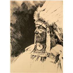 Sioux Man - Serigraph by Lynn Hayes   (101057)