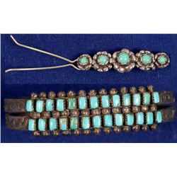 Turquoise & Silver Child's Bracelet & Hair Slide   (105302)