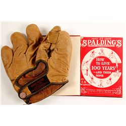 Vintage Baseball Glove and Spaulding Book   (88223)