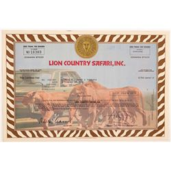 Lion Country Safari, Inc.stock certificate   (106313)