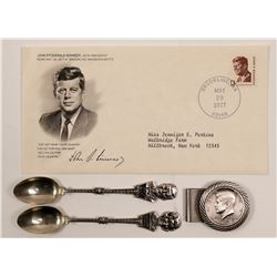 First day Cover , Spoons, & Money Clip / President Kennedy / 4 Items.     (105411)