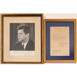 Photo / Signed JFK & Letter of Authenticity /2  Items.   (105414)