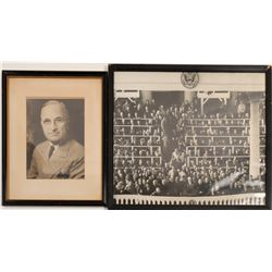 Harry Truman Signed Photo and Ike Inauguration Photo    (90724)