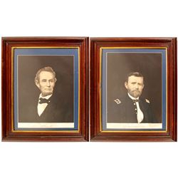 Lincoln and Grant Lithographs in Frames   (56442)