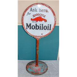 Mobiloil Gargoyle Porcelain Double-Sided Lollipop Sign w/ Base    (108057)