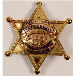 Inyo County, CA Gold Plated Deputy Sheriff Badge   (106360)