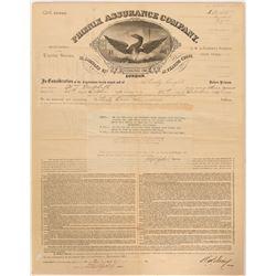 Phoenix Assurance Fire Insurance Certificate   (91502)
