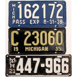 Auto License Plates / Michigan / 3 Items   (105009)