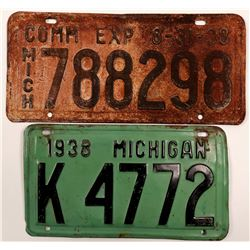 License Plates / Michigan / 2 Items.   (105010)