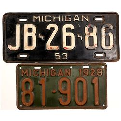 License Plates / Michigan / 2 Items.   (105013)