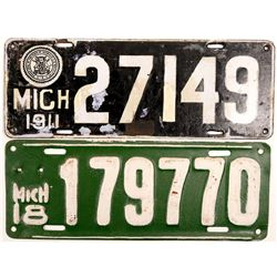 License Plates / Michigan / 2 Items.   (105014)