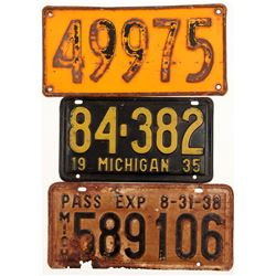 License Plates / Michigan / 3 Items.   (105011)