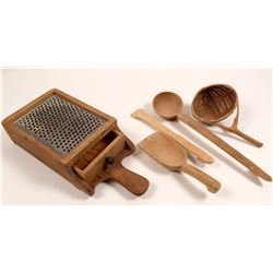 Tools / Hand Made Wooden Kitchen Set / 5 Items.   (105005)