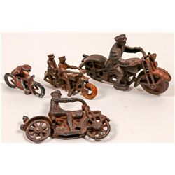Cast Iron Police Motorcycle Toys (3)   (106350)