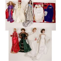 Dolls (2 Barbies, &  5 Dolls on Stands & Wardrobe))   (106015)