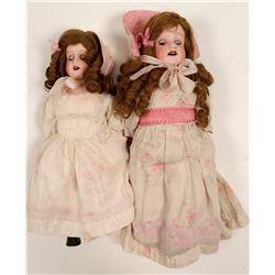 Dolls, 2 sister vintage dolls, bisque   (105472)