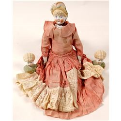 Vintage Doll Heads and Doll in Dress   (58854)