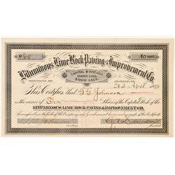 Bituminous Lime Rock Paving & Improvement Co. Stock Certificate   (103478)