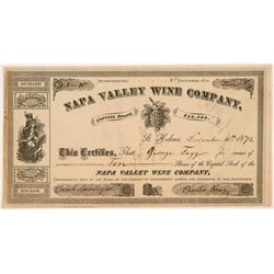 Napa Valley Wine Company Stock Certificate-- Number 1   (107307)
