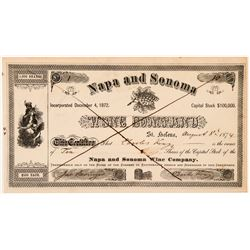 Napa & Sonoma Wine Company Stock Certificate -- Number 1   (104335)