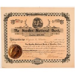 Needles National Bank Stock Certificate   (104372)