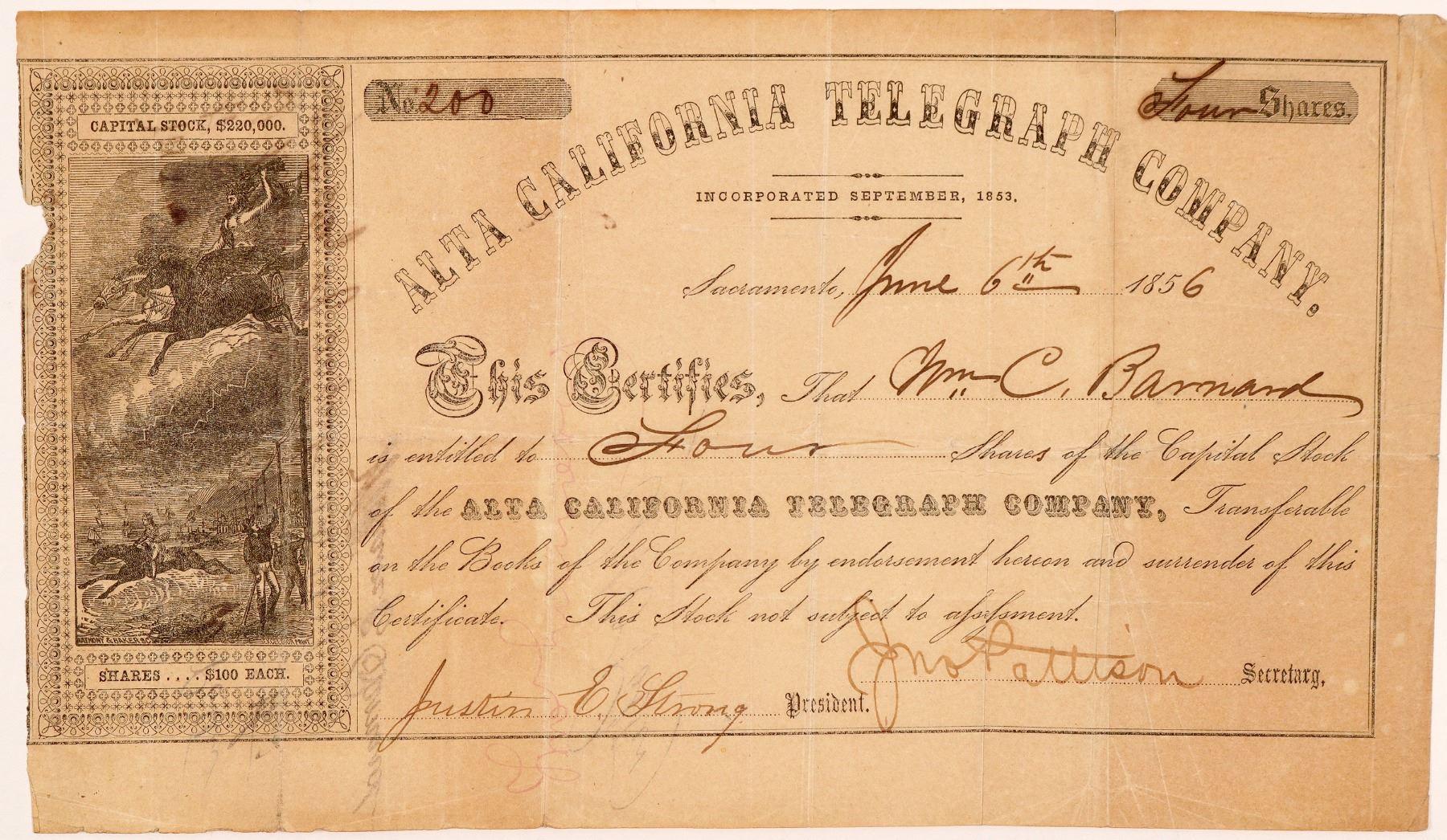 certificate telegraph alta california