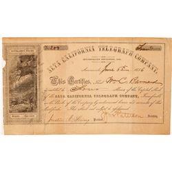 Alta California Telegraph Company Stock Certificate   (107027)