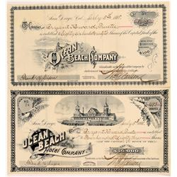 Two Different Ocean Beach Company Stock Certificates   (107260)