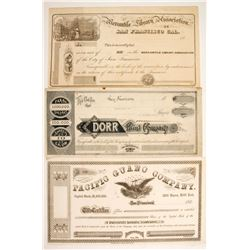 Three early unissued San Francisco Stocks   (88171)