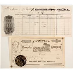 Lewiston Turnpike Stock & San Francisco Assay Receipt   (87451)